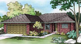 House Plan 69349 | Ranch Style Plan with 1349 Sq Ft, 3 Bedrooms, 2 Bathrooms, 2 Car Garage Elevation