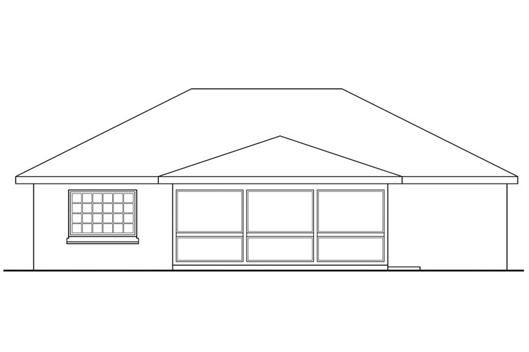 Ranch House Plan 69349 Rear Elevation
