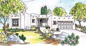Santa Fe , Southwest House Plan 69352 with 3 Beds, 2 Baths, 2 Car Garage Elevation