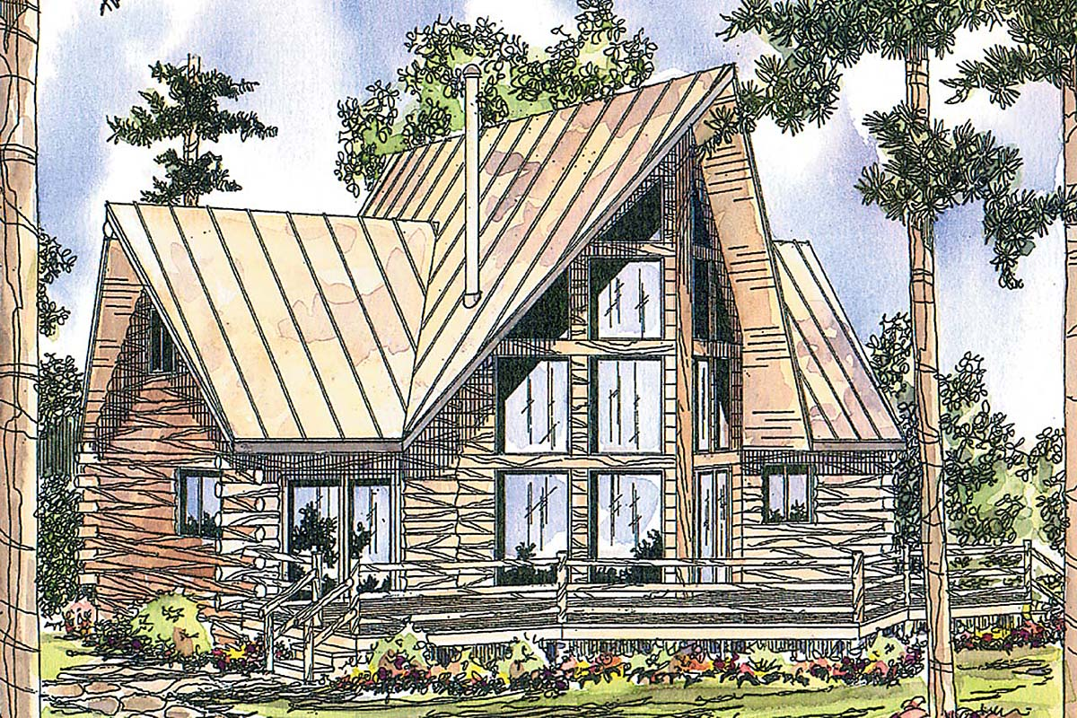 Contemporary , Log House Plan 69356 with 2 Beds, 2 Baths Elevation