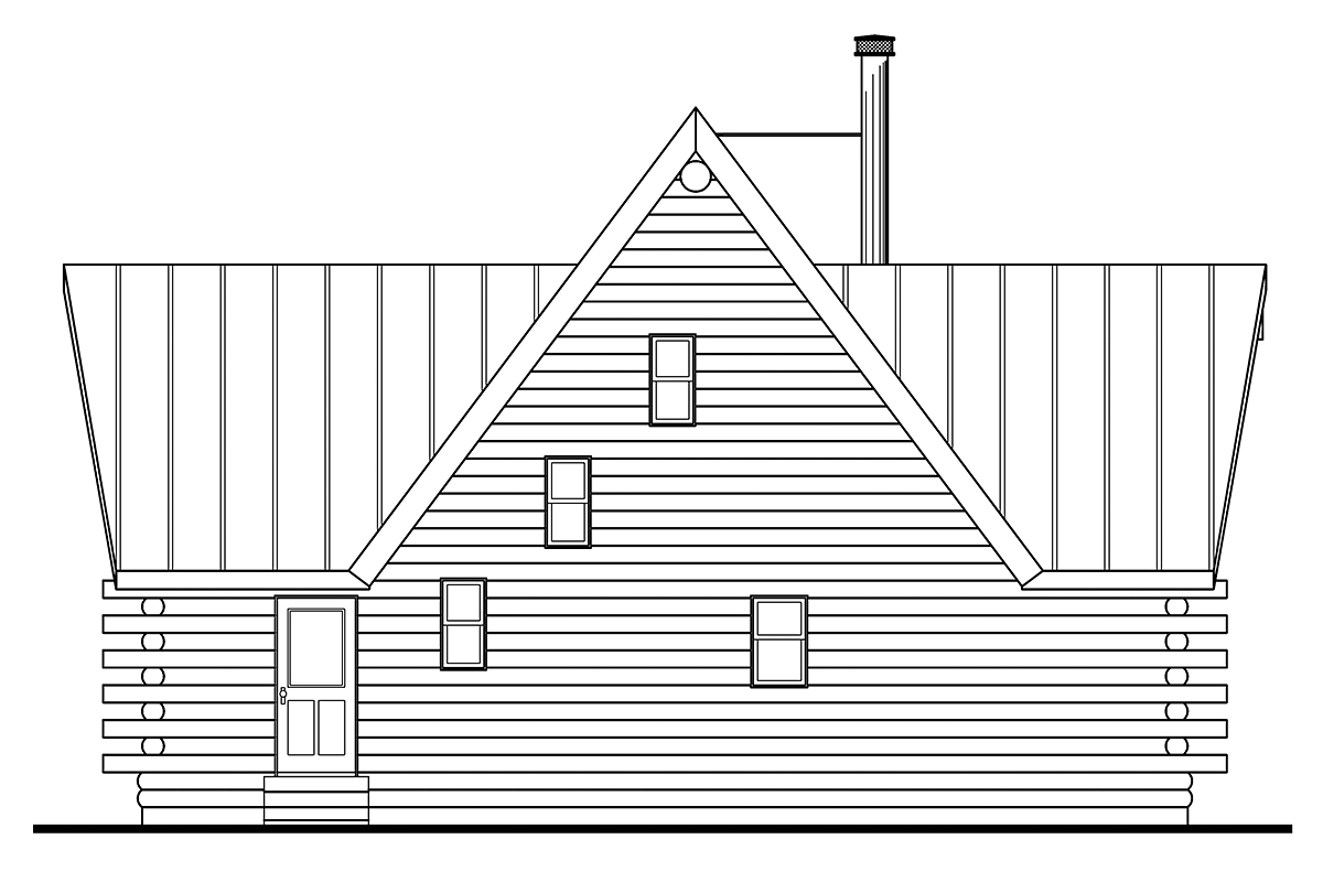 Contemporary , Log House Plan 69356 with 2 Beds, 2 Baths Rear Elevation
