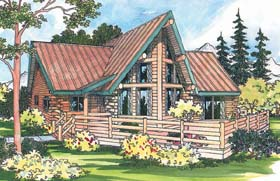 House Plan 69357 | Contemporary Log Style Plan with 1384 Sq Ft, 2 Bedrooms, 1.5 Bathrooms Elevation