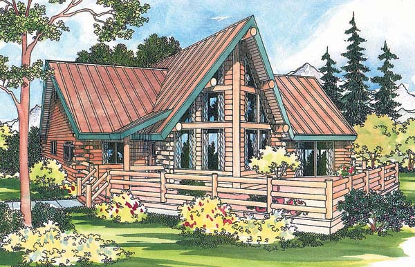 Contemporary Log House Plan 69357 Elevation