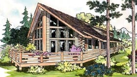 Cabin Cottage Log House Plan 69360 Elevation