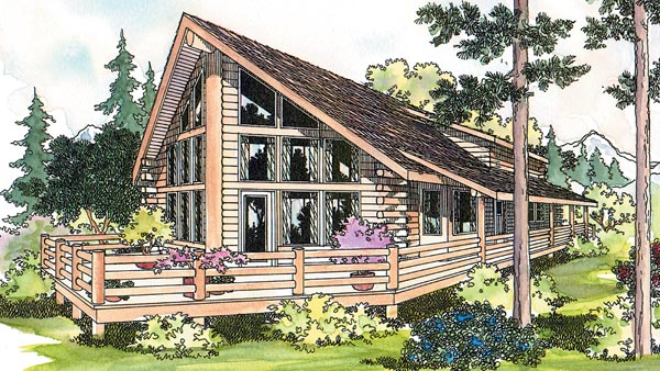 Log , Cottage , Cabin , Elevation of Plan 69360