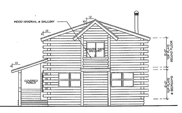 Log , Cottage , Cabin , Rear Elevation of Plan 69360