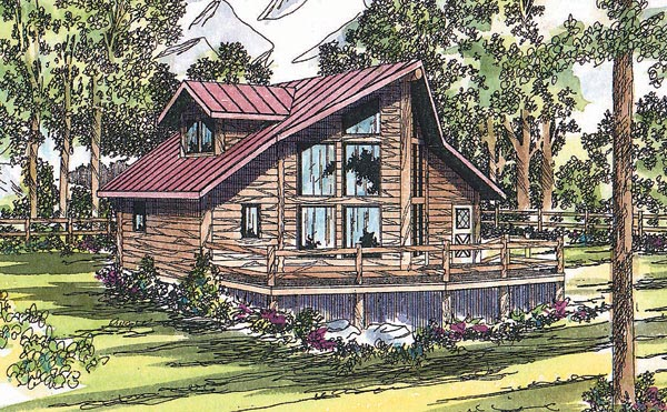 Contemporary Log House Plan 69361 Elevation