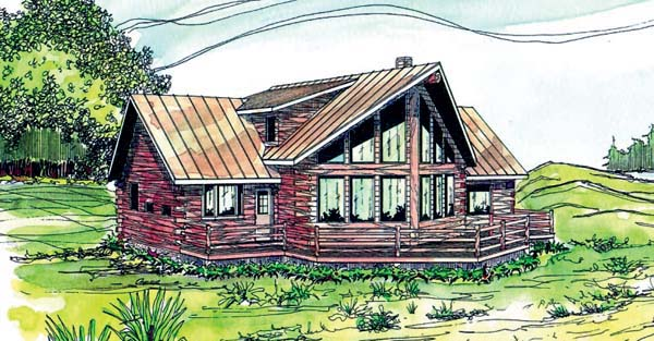 Contemporary, Log House Plan 69362 with 3 Beds, 2.5 Baths Elevation