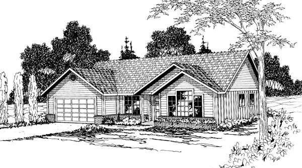 Ranch , Elevation of Plan 69370