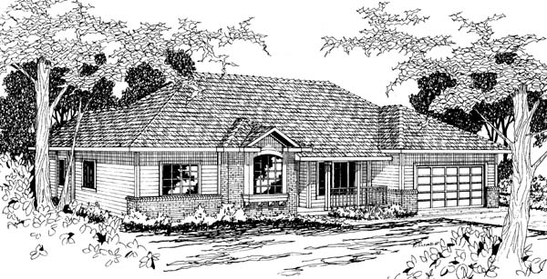 Traditional House Plan 69378 with 4 Beds, 2 Baths, 2 Car Garage Elevation