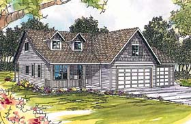 House Plan 69381 | Cape, Cod, Country Style House Plan with 1887 Sq Ft, 3 Bed, 2.5 Bath, 3 Car Garage Elevation