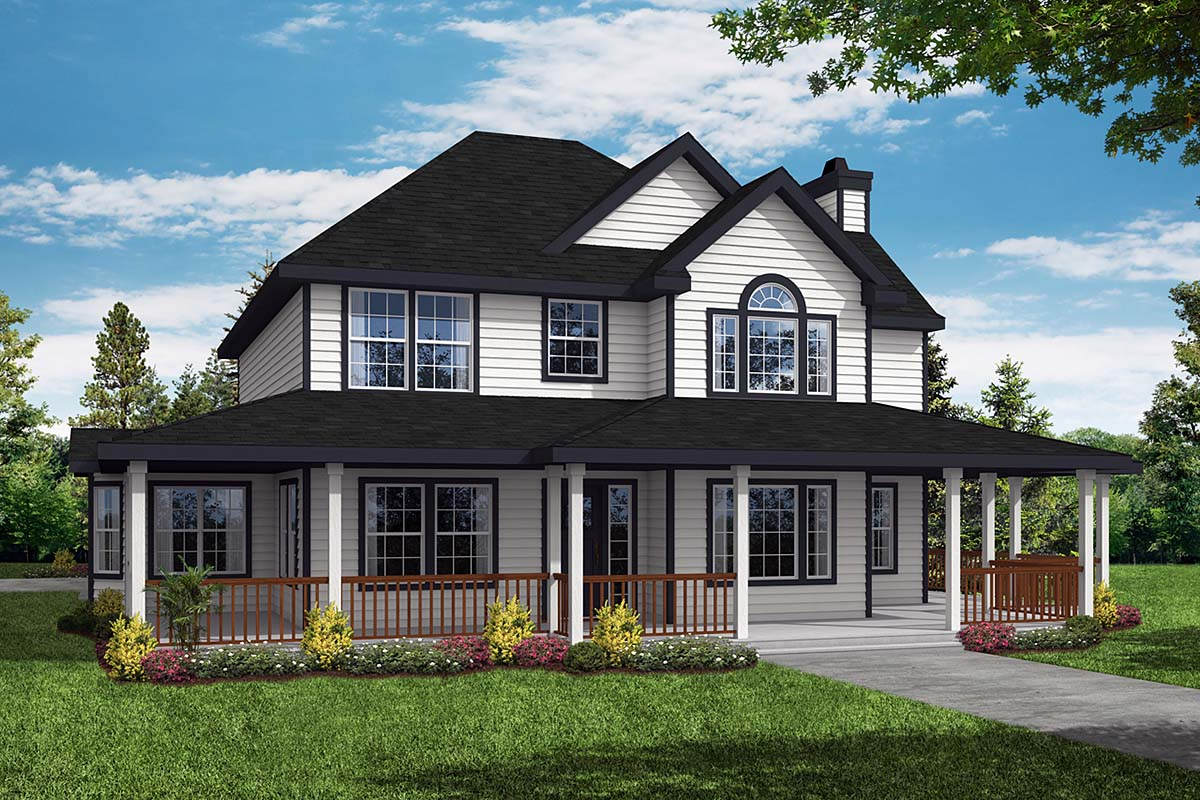 Country Farmhouse Elevation of Plan 69384