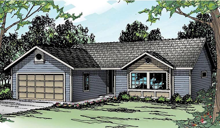 Ranch House Plan 69385 with 3 Beds, 2 Baths, 2 Car Garage Elevation