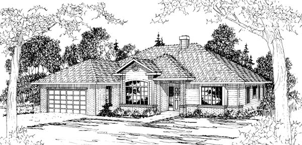 Traditional House Plan 69387 with 4 Beds, 2.5 Baths, 2 Car Garage Elevation