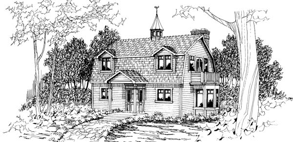 Colonial , European House Plan 69392 with 2 Beds, 2 Baths Elevation