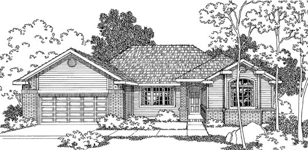 One-Story, Traditional House Plan 69393 with 3 Beds, 2.5 Baths, 2 Car Garage Elevation