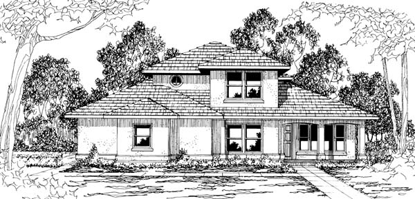 Contemporary , Southwest House Plan 69398 with 4 Beds, 3 Baths, 2 Car Garage Elevation