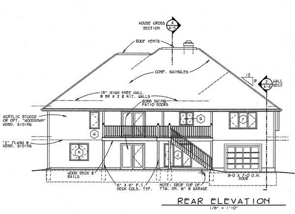 Contemporary , Southwest House Plan 69398 with 4 Beds, 3 Baths, 2 Car Garage Rear Elevation