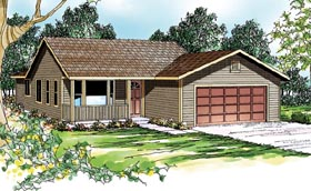 House Plan 69403 | Contemporary Country Ranch Traditional Style Plan with 1506 Sq Ft, 3 Bedrooms, 2 Bathrooms, 2 Car Garage Elevation