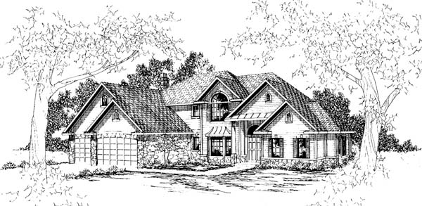 Country , European House Plan 69404 with 4 Beds, 3.5 Baths, 3 Car Garage Elevation