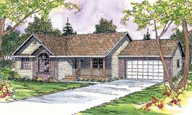 House Plan 69405 | Ranch Style House Plan with 1609 Sq Ft, 3 Bed, 2 Bath, 2 Car Garage Elevation