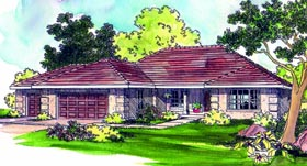 House Plan 69407 | Southwest Style Plan with 2087 Sq Ft, 3 Bedrooms, 2 Bathrooms, 3 Car Garage Elevation