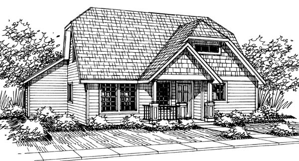 Bungalow, Craftsman House Plan 69409 with 3 Beds, 2.5 Baths, 2 Car Garage Elevation