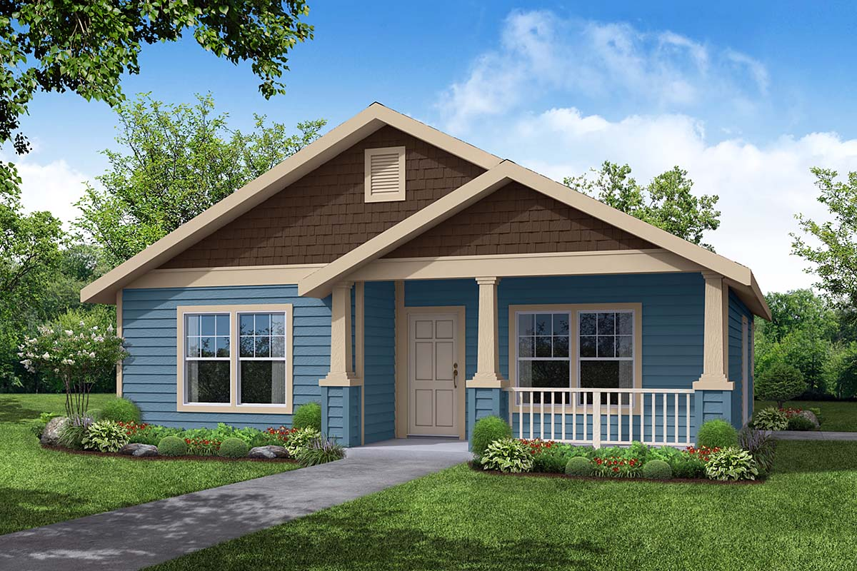 Craftsman House Plan 69411 with 3 Beds, 2 Baths, 2 Car Garage Elevation