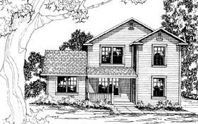 Country House Plan 69414 with 3 Beds, 1.5 Baths Elevation