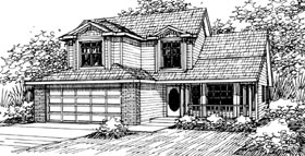 Country House Plan 69421 with 3 Beds, 2.5 Baths, 2 Car Garage Elevation