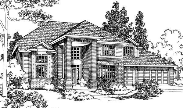 Traditional House Plan 69434 with 3 Beds, 2.5 Baths, 3 Car Garage Elevation