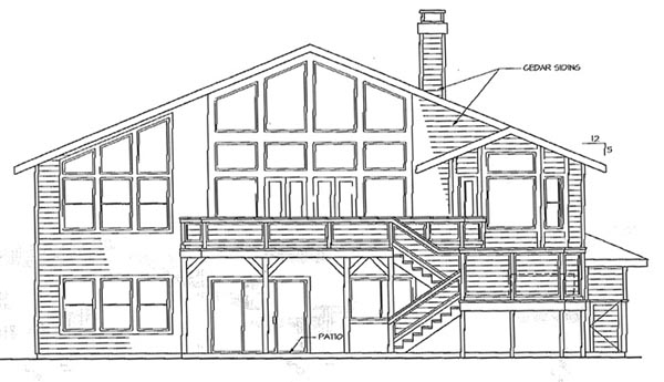 Contemporary , Rear Elevation of Plan 69436