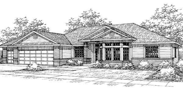 Traditional House Plan 69439 with 4 Beds, 2.5 Baths, 3 Car Garage Elevation