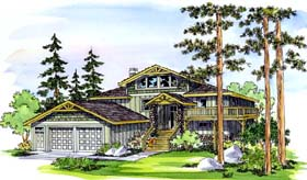 Craftsman House Plan 69442 with 5 Beds, 4 Baths, 2 Car Garage Elevation