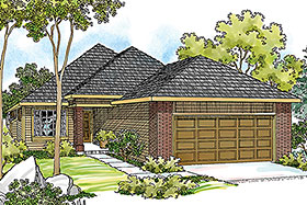 House Plan 69443 | Traditional Style Plan with 1348 Sq Ft, 3 Bedrooms, 2 Bathrooms, 2 Car Garage Elevation