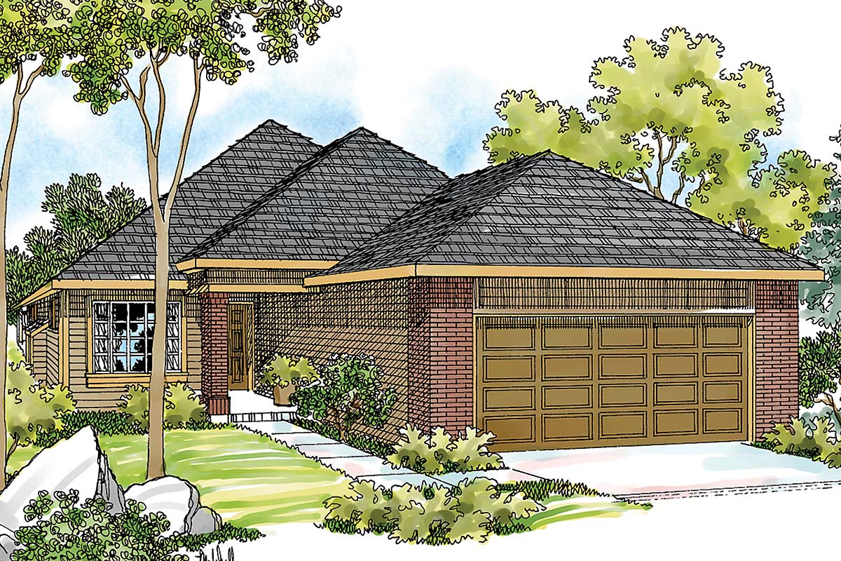 One-Story, Traditional House Plan 69443 with 3 Beds, 2 Baths, 2 Car Garage Elevation