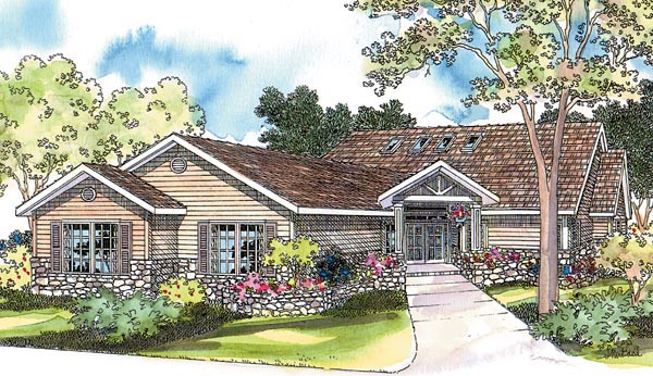 Contemporary , Craftsman , One-Story , Ranch , Traditional , Elevation of Plan 69450