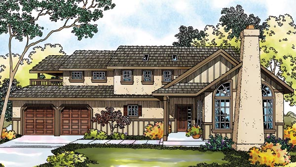 House Plan 69451 | Contemporary Tudor Style Plan with 2152 Sq Ft, 3 Bedrooms, 2.5 Bathrooms, 2 Car Garage Elevation