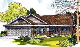 Contemporary Country Ranch Traditional House Plan 69452 Elevation