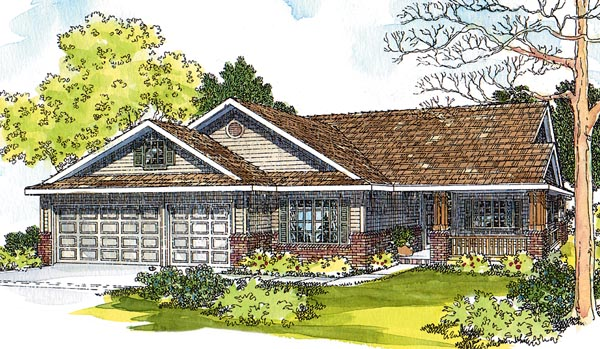 Contemporary, Country, Ranch, Traditional House Plan 69452 with 3 Beds, 3 Baths, 3 Car Garage Front Elevation
