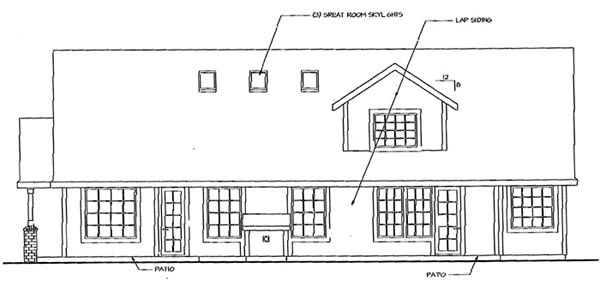 Contemporary, Country, Ranch, Traditional House Plan 69452 with 3 Beds, 3 Baths, 3 Car Garage Rear Elevation