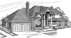 European House Plan 69459 with 4 Beds, 3.5 Baths, 2 Car Garage Elevation