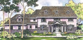 Colonial House Plan 69465 with 4 Beds, 4.5 Baths, 3 Car Garage Elevation