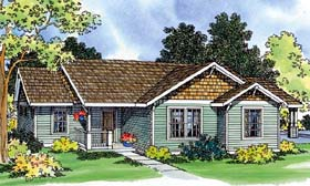 Ranch House Plan 69470 with 3 Beds, 1 Baths, 1 Car Garage Elevation
