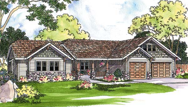 Ranch House Plan 69481 with 4 Beds, 3 Baths, 3 Car Garage Elevation