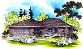Traditional House Plan 69482 with 3 Beds, 2 Baths, 2 Car Garage Elevation