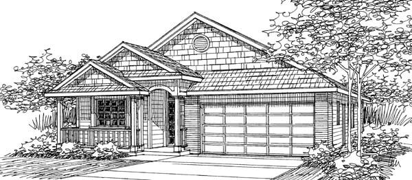 House Plan 69485 | Traditional Style Plan with 1598 Sq Ft, 3 Bed, 2 Bath, 2 Car Garage Elevation