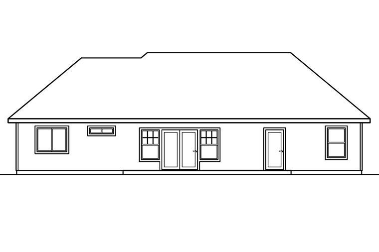 Ranch Traditional House Plan 69489 Rear Elevation