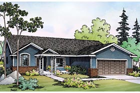 House Plan 69490 | Ranch Traditional Style Plan with 1604 Sq Ft, 3 Bedrooms, 2 Bathrooms, 2 Car Garage Elevation