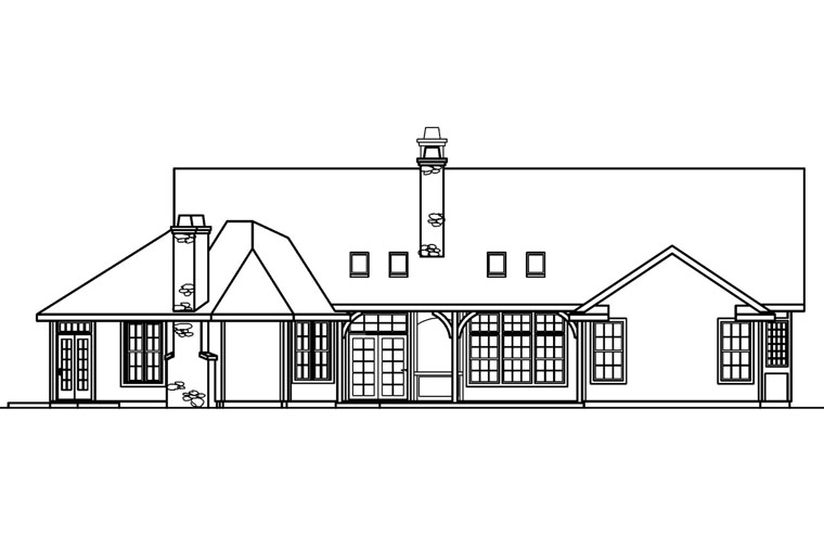 House Plan 69494 | Traditional Style Plan with 3072 Sq Ft, 4 Bedrooms, 3 Bathrooms, 2 Car Garage Rear Elevation